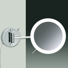 Wall Mount 3X Magnifying LED Round Mirror with Two Arms Direct Wired