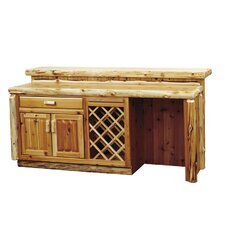 Traditional Cedar Log Bar with Wine Storage
