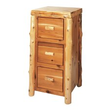 Traditional Cedar Log 3-Drawer File Cabinet