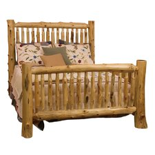 Spindle Cedar Log Slat Panel Bed