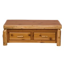 Traditional Cedar Log Coffee Table with Elevating Top