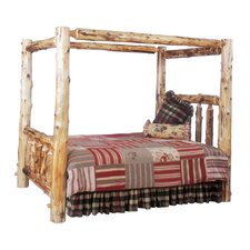Traditional Cedar Log Canopy Bed