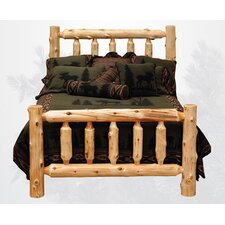 Traditional Cedar Log Slat Panel Bed