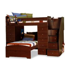 Sierra Twin Over Twin L Shaped Bunk Bed with Storage and Stairs