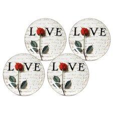 "Love Letters 8"" Dessert / Salad Plate (Set of 4)"