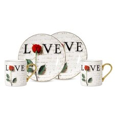 Love Letters 3 oz. Espresso Cup and Saucer (Set of 2)