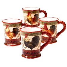 Tuscan Rooster 4 Piece Mug Set (Set of 4)