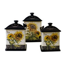 French Sunflowers 3-Piece Canister Set