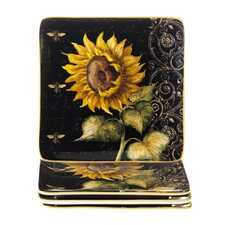 French Sunflowers Square Salad Plate (Set of 4)