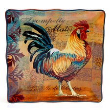 Rustic Rooster Square Platter