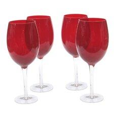 Glass Stemware Ruby White Wine Glasses (Set of 4)