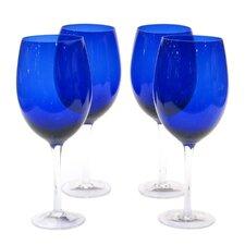 Glass Stemware Cobalt White Wine Glasses (Set of 4)