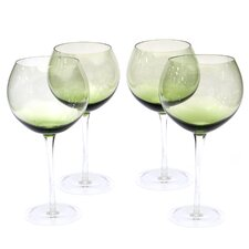 Glass Stemware Olive Green Red Wine Glasses (Set of 4)