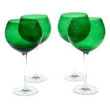 Glass Stemware Green Red Wine Glasses (Set of 4)
