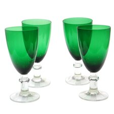 Glass Stemware Green All Purpose Goblets (Set of 4)