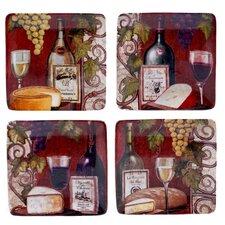 "Wine Tasting 6"" 4 Piece Canape Plate Set"