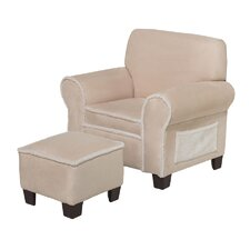 Club Chair and Ottoman in Beige