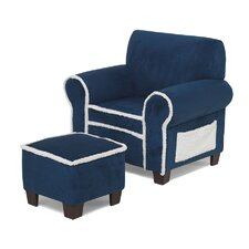 Club Chair and Ottoman in Blue
