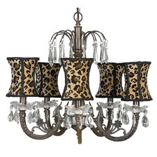 Waterfall 5 Light Chandelier with Hourglass Shade