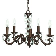 5 Light Glass Turret Chandelier