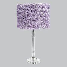 "Slender Crystal 26"" H Table Lamp Drum Shade"
