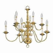 10 Light Chandelier in Polished Brass
