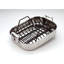"Stainless Steel 14"" Petite Roasting Pan with Rack"