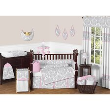 Pink and Gray Elizabeth 9 Piece Crib Bedding Set