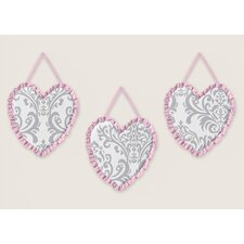 3 Piece Pink and Gray Elizabeth Wall Hanging Set