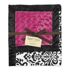 Isabella Hot Pink, Black and White Baby Blanket