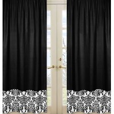 Isabella Hot Pink, Black and White Curtain Panels (Set of 2)