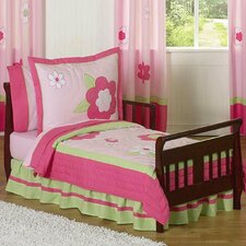 Flower Pink and Green 5 Piece Toddler Bedding Set