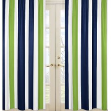 Navy Blue and Lime Green Stripe Curtain Panel (Set of 2)