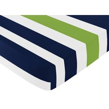 Navy Blue and Lime Green Stripe Fitted Crib Sheet