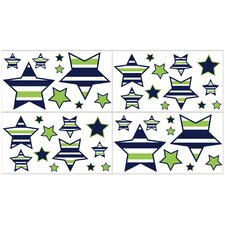 Navy Blue and Lime Green Stripe Wall Decal