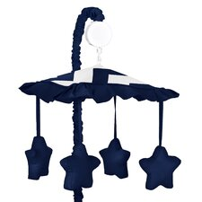 Navy Blue and White Chevron Musical Mobile