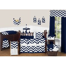 Navy Blue and White Chevron 9 Piece Crib Bedding Set