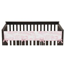 French Toile Long Crib Rail Guard Cover