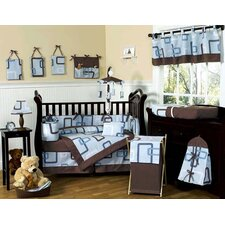 Geo Blue 9 Piece Crib Bedding Set