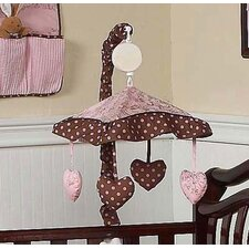 Pink and Brown Toile Musical Mobile
