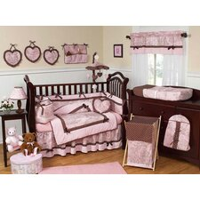 Pink and Brown Toile 9 Piece Crib Bedding Set