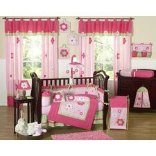 Flower Pink and Green 9 Piece Crib Bedding Set