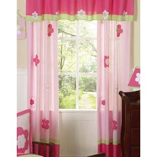 Flower Pink and Green Cotton Curtain Panels (Set of 2)