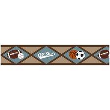 """All Star Sports 15' x 6"""" Geometric Border Wallpaper"""
