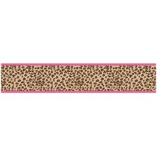 "Cheetah Pink 15' x 6"" Leopard Print Border Wallpaper"