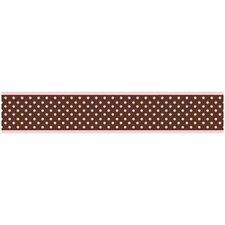"Pink and Brown Toile 15' x 6"" Polka Dot Border Wallpaper"