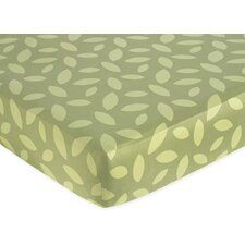 Jungle Time Green Leaf Fitted Crib Sheet