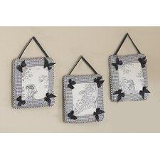 3 Piece Black Toile Hanging Art Set