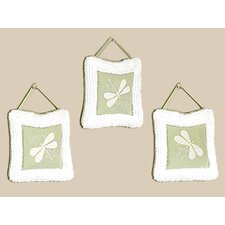 3 Piece Green Dragonfly Dreams Hanging Art Set