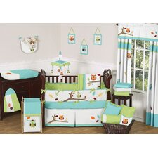 Hooty Turquoise and Lime 9 Piece Crib Bedding Set
